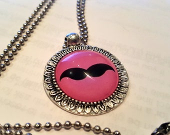 Pink Hipster Mustache Necklace