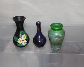 Three Vintage Handmade Very Small Vases, One is Purple and Blue, One is Glass and Green and the Other is Larger and Heavier from Honduras