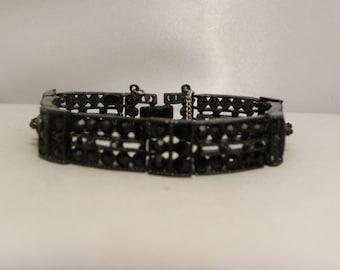 Signed Weiss Vintage Japanned Metal, Black Stone Bracelet