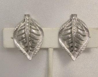 Vintage Signed Park Lane Rhinestone Veined Leaf Earrings