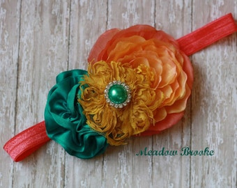 BABY HEADBAND, m2m, made to match, matilda jane, couture, teal, mustard,coral,peach, toddler, girl, flower,boutique,over the top, Spring