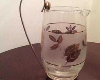 Vintage Glass and Brass Pitcher Creamer