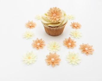 14 Edible Peach and Cream 3D Wafer Flowers Cupcake Toppers Precut