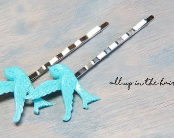 Blue Bird Bobby Pins - Sparrow Bobby Pins - Blue Bird Hair Pins
