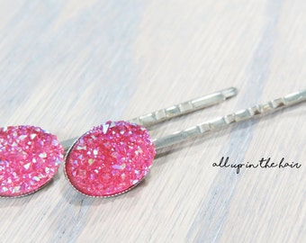 Druzy Bobby Pins - Pink Druzy Bobby Pins