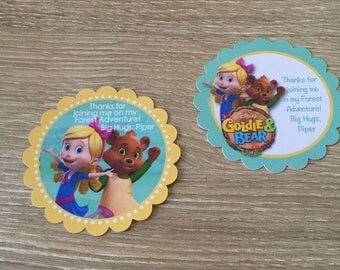 Goldie and Bear party favor stickers - Party Favors, Goldie & Bear Birthday stickers, Forest Adventure, Goldie, Bear, Party Favor Stickers