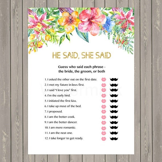 Items Similar To He Said She Said Game, Floral Bridal