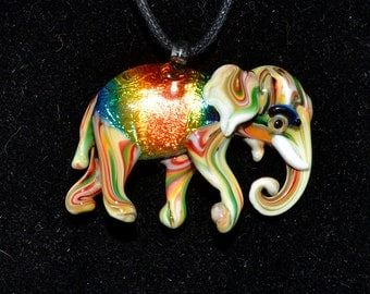 Rainbow Dichroic Elephant Glass Pendant