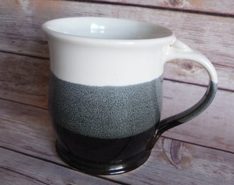 Black and White Ombre Stoneware Coffee Mug, large 14+ oz size, Tea, Ceramic, Food Safe, Dishwasher Safe, Amy Kovats