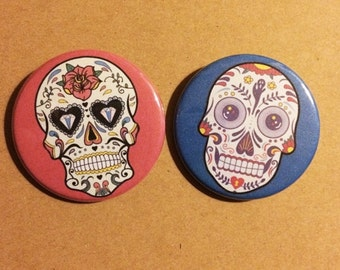 Colorful Day Of The Dead Sugar Skull Button Pin Set