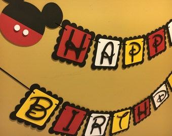 Mickey Mouse Birthday Banner | Mickey Mouse Party | Birthday Banner | Babyshower Banner | Name Banner