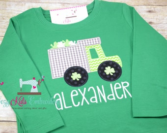 St. Patrick's Day Shirt, Boy's St. Patrick's Day Shirt, St Patricks Day Shirt, Boy's Truck Shirt, Truck Applique, Truck Embroidery
