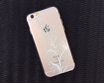 White Henna Leaf iPhone case, iphone 6 case clear, transparent flexible iphone cover, rubber iphone 5 case, girly iphone case, galaxy case