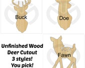 Unfinished Wood Deer Silhouette Buck, Doe or Fawn Laser Cutout, Home Decor, Country, Antlers, Rustic