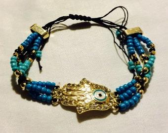 Handmade Brass Beaded Hamsa Bracelet