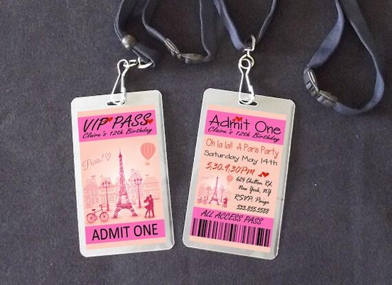 Paris VIP Pass Lanyard Birthday Invitations Paris vip Party