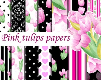 Pink tulips digital seamless pattern, Watercolor tulips digital papers, Hand painted paper pack, Pink black digital papers, Tulip paper pack