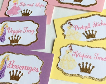 Set of 6 Food Tags (Inspired by Disney Princesses)