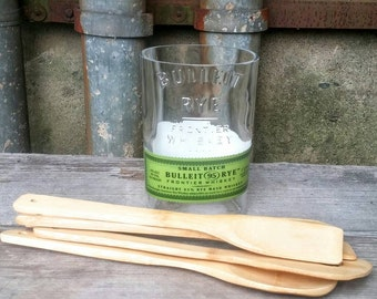 Bulleit Serving Spoon Holder With Bamboo Utensils From Upcycled Glass Rye Whiskey Liquor Bottle