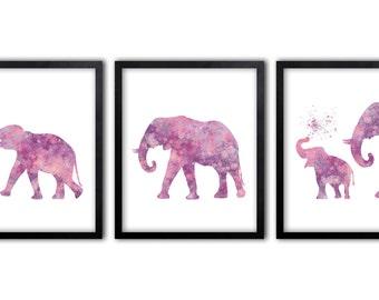 Pink Elephant, Watercolor Wall Art, Girls Wall Art, Girls Room Decor, Set Of Three Limited Edition Art Prints - ES1P