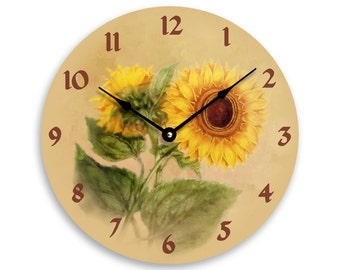 Vintage sunflower 10 inch wall or kitchen clock. Vintage sunflower impressionist image on a tan background. CL3277