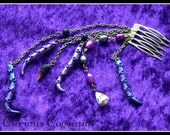 Mermaid Hair Comb With Shells, Tentacles, Freshwater Pearls & Lava Stones