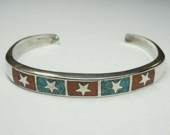 Sterling Silver Turquoise Carnelian 5 Star Accent Cuff Bracelet