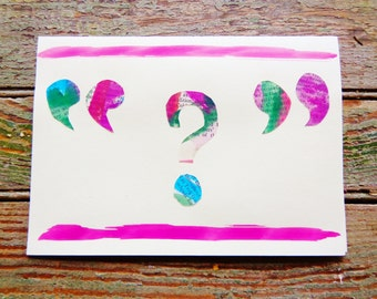 Watercolor question mark card
