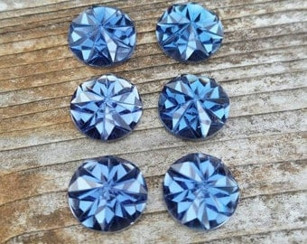 12mm Stormy Blue Faceted Cabochon