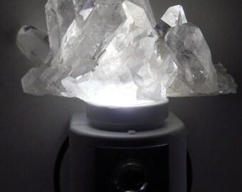 Automatic Sensor White Quartz LED Gemstone Night Light//Crystals//Minerals//Geode Nite Light