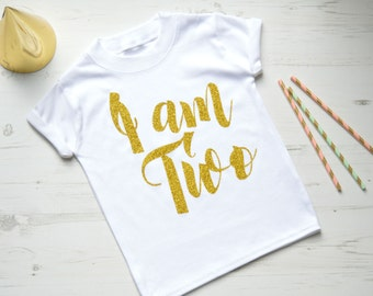 I Am Two Second Birthday Outfit Girl | Girls 2nd Birthday Outfits | Toddler Birthday Outfit | White SS I am Two