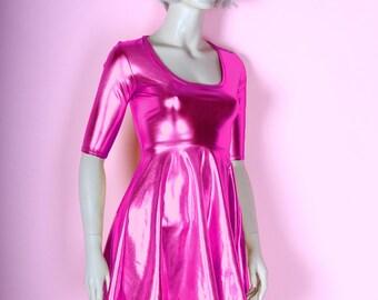 Metallic Pink Skater Dress Wet Look Baby Doll Flare Mini Spandex Foil Chrome