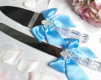 Fleur de Lis Personalized Wedding Cake Knife Set Choose Ribbon Color