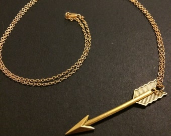 "Gold Arrow Necklace - 30"" Gold Filled Chain"