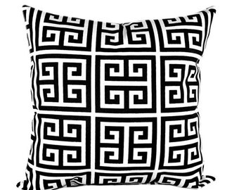 Black and White Pillow Cover, Pillow, Geometric Greek Key, Black and White Pillow, Black Pillows, Black Cushion Covers, Modern Pillow Cover