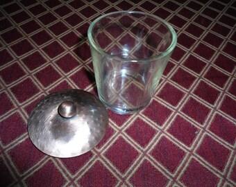 Vintage Glass Votive Candle Holder With Copper Lid