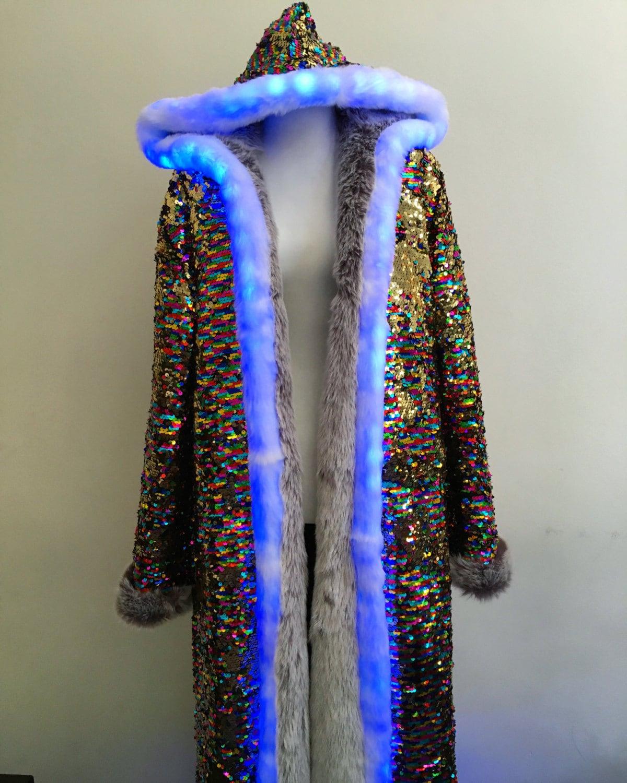 LED Light Up Faux Fur Lined Sequin Sparkle Hoodie Jacket