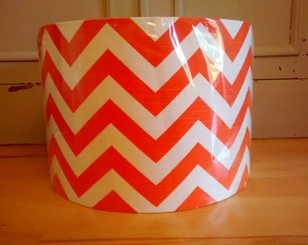 30cm Hand Rolled Drum Lampshade made from gorgeous Orange & White Chevron Cotton Slub, Linen Look Cotton Fabric