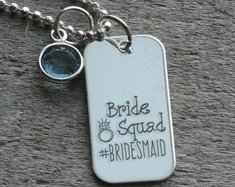 Bride Squad #Bridemaid Personalized Necklace - Engraved