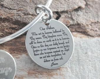 Lords Prayer Personalized Adjustable Wire Bangle Bracelet