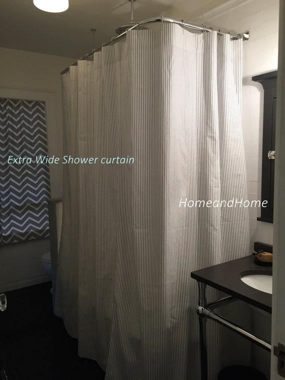Custom Fabric Shower Curtain Ticking Light Green White 72 x 84