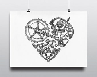 Bicycle Art Print, Bike Art Print, Vintage Campagnolo : Bicycle Love
