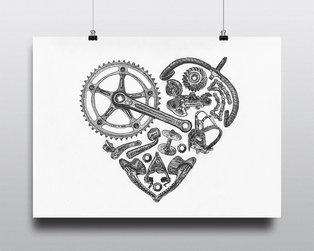 Bicycle Wall Art bicycle art print bike art print vintage campagnolo :
