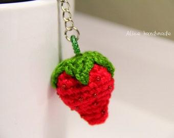 Crochet Strawberry Keychain. Handmade Keychain. Ready to ship.