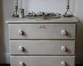 Pretty Upcycled Chest of Drawers in Country Grey and Pink