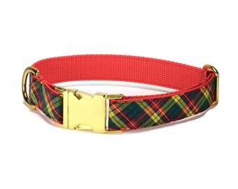 Autumn Plaid Dog Collar With Gold Hardware, Plaid Dog Collar, Fall Dog Collar, Harvest Dog Collar, Preppy Dog Collar