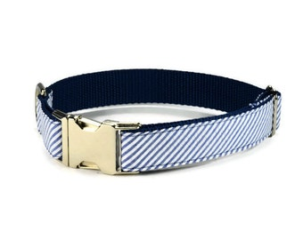 Blue Seersucker Dog Collar, Seersucker Stripe Dog Collar, Nautical Dog Collar, Preppy Dog Collar, Stripe Dog Collar, Patriotic Collar