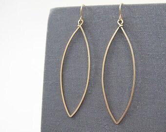 Gold Minimalist Earrings - dangle hoop marquise earrings, nickel free geometric jewelry