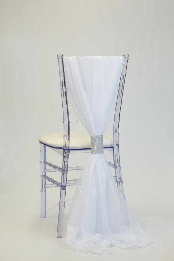 white chiffon chiavari chair sash wedding chair sashes by
