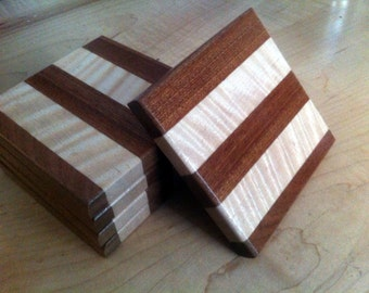 Square wood coasters set of 5 Curly Maple and Mahogany